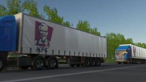 Frakta halva lastbilar med den Kentucky Fried Chicken KFC logoen som kör längs skogvägen Redaktörs- tolkning 3D Arkivbilder