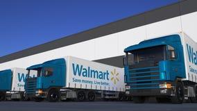 Frakta halva lastbilar med Walmart logopäfyllning eller avlastning på lagerskeppsdockan Redaktörs- tolkning 3D vektor illustrationer