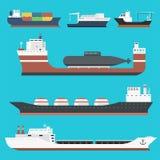 Fraktar drevet bäraren för den i stora partier för leveransen för sändnings för lastskyttlar och tankfartygfartygtankfartyg som i royaltyfri illustrationer