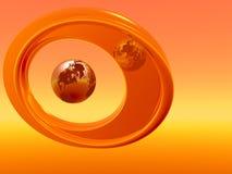 Fram Earth OR. Chrome globe with abstract mirror frame - 3d scene. Orange Royalty Free Stock Photos