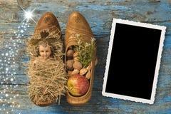 Fram för foto för tappning för jultid vertikal Arkivfoto
