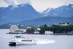 FRAM fast-ferry Godoy. FRAM plans, orders and coordinates public transport in More og Romsdal county, Norway royalty free stock image