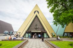 Fram Museum in Oslo. OSLO, NORWAY - JULY 21, 2017: The Fram Museum or Frammuseet is a museum of Norwegian polar exploration. Fram Museum located on Bygdoy stock photo