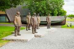 Fram Museum in Oslo. Roald Amundsen and his crew monuments at the Fram Museum, a museum of Norwegian polar exploration. Fram Museum located on Bygdoy in Oslo royalty free stock images