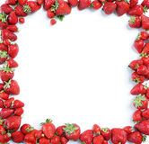Fram from ripe strawberry on white background. Copy space, top view, high resolution product royalty free stock images