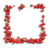Fram from strawberry isolated on white background. Copy space. Top view, High resolution product royalty free stock photo