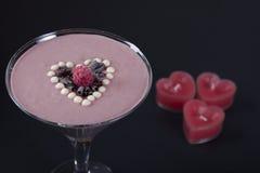 Framboesa - batido do chocolate Imagens de Stock Royalty Free