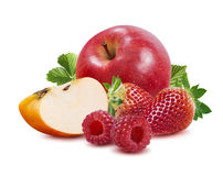 Framboesa da morango de Apple isolada no fundo branco Foto de Stock Royalty Free
