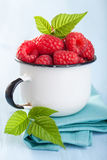 Framboesa fresca no copo do esmalte sobre o fundo azul Imagens de Stock Royalty Free