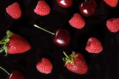 Framboesa, morango, teste padrão do fruto da cereja no fundo preto Imagens de Stock Royalty Free