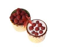 Framboesas e iogurte das bagas em umas canecas da argila Imagens de Stock
