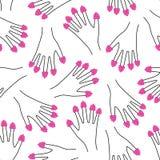 Framboesas em todo o teste padrão sem emenda da mão dos dedos Ilustração de menina engraçada bonito com pregos das framboesas Imagens de Stock