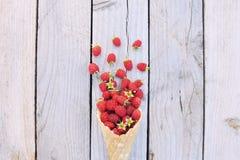 Framboesas frescas maduras no cone de gelado no fundo de madeira rústico Imagem de Stock