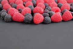 Framboesas naturais maduras e pretas no fundo escuro Opinião do Close-up imagem de stock