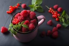 Framboise dans la tasse rose Photo stock