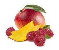 Framboise entière de fruit de mangue d'isolement sur le fond blanc Image libre de droits