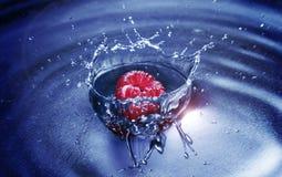 Framboise laissée tomber dans l'eau Image libre de droits