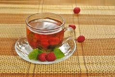 Framboises dans le thé Photos stock