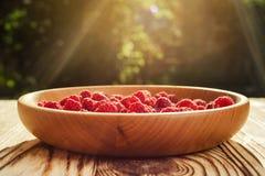 Framboises dans un plat, dans la cuvette en bois, branche de panier/buisson/élevage Images libres de droits