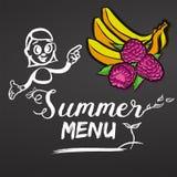 Framboises et bananes de menu d'été Photo stock