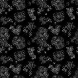 Framboises florales sans couture de modèle, pivoine Tissu tiré par la main d'illustration, s'enveloppant Image stock