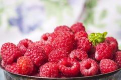 Framboises fraîches dans le panier de vintage, vitamines, nourriture saine, VE Image libre de droits