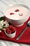 Framboos met yoghurt Royalty-vrije Stock Afbeeldingen