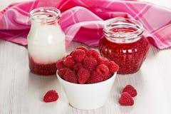 Framboos, yoghurt en jam Royalty-vrije Stock Foto's
