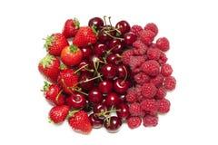 Frambozen charries stawrberries Royalty-vrije Stock Afbeeldingen