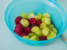 Frambozen en druiven Royalty-vrije Stock Foto's