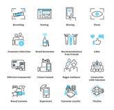 Frambragd konsument annonsera symbolssamlingsuppsättningen Annonsvektorillustration stock illustrationer