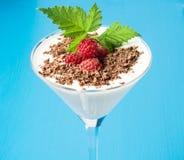 Frambuesas, chocolate y menta con el yogur, leche, requesón en un vidrio de martini Postre delicioso y brillante Imagen de archivo