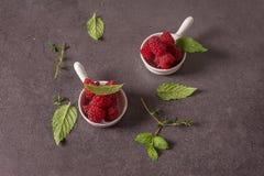 Frambuesas frescas en un tazón de fuente Fotografía de archivo