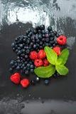 Frambuesas lavadas frescas, arándanos, hojas de menta con los waterdrops Bayas orgánicas en tablero gris de la piedra de la pizar Foto de archivo libre de regalías