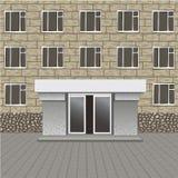 Framdel av byggnad, ingång med den tomma skylten för ditt namn, trottoar Royaltyfria Bilder