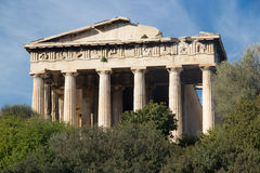 Framdel av den Hephaestus templet, Aten royaltyfria foton