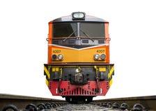 Framdel av drevet som ledas av gula diesel- elektriska lokomotiv på spåren royaltyfri foto
