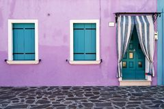 Framdel av huset på ön av Burano italy venice Arkivfoto