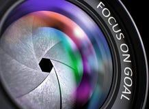 Framdel av Lens med inskriftfokusen på mål 3d Arkivfoton