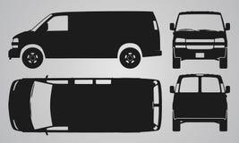 Framdel-, baksida-, överkant- och sida skåpbil bil projektion Royaltyfria Bilder