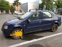 Framdel för hjulklämma - bilen beslagtar fotografering för bildbyråer