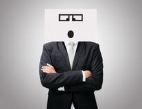 Framdel för innehav för framsida för leende för stående vitbok för affärsman lycklig Arkivfoto