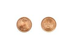 Framdel och baksida av thailändsk satang för mynt 25 arkivbild