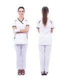 Framdel- och baksidasikt av den kvinnliga doktorn som isoleras på vit Royaltyfri Bild