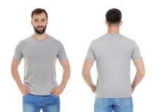 Framdel- och baksidasikter av den unga mannen i grå t-skjorta arkivfoto