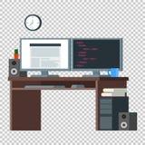 Framdel-slut bärareWorkspace Plan inre för designkontor Arkivbilder