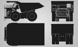 Framdelen, baksida, överkanten och sidan åker lastbil med påfyllningsläpprojektion Royaltyfria Foton