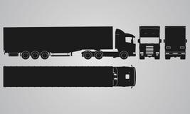 Framdelen, baksida, överkanten och sidan åker lastbil med påfyllningsläpprojektion Royaltyfri Foto