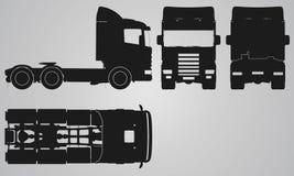 Framdelen, baksida, överkanten och sidan åker lastbil utan släpprojektion Arkivbild