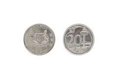 Framdelen och baksida av Singapore myntar cent 20 Royaltyfria Bilder
